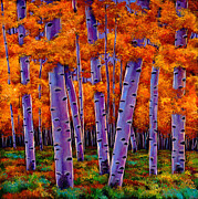 Aspen Trees Paintings - A Chance Encounter by Johnathan Harris