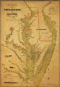 Old Map Digital Art Framed Prints - A Chart Chesapeake and Delaware Framed Print by Randy Vreeke