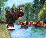 Narrow Boats Posters - A Cheshire Canal Remembered Poster by Isabella F Abbie Shores