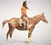 Cloth Paintings - A Cheyenne Brave by Frederic Remington