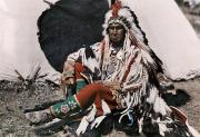 Profile Posters - A Chief On The Crow Indian Reservation Poster by Edwin L. Wisherd