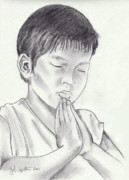 Prayer Drawings - A Childs Prayer by John Keaton