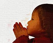 Child Praying Paintings - A Childs Prayers are From the Heart by Deborah MacQuarrie