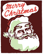 Santa Claus Posters - A Christmas Inspired Santa Illustration With The Text Merry Christmas Poster by Coco Flamingo