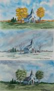 Country Church Framed Prints - A Church For All Seasons Framed Print by Charlotte Blanchard