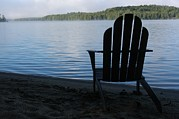 Light And Dark   Framed Prints - A Classic Adirondack Chair Framed Print by Stacy Gold