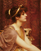 Brunette Prints - A Classical Beauty Print by John William Godward