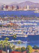 Skylines Painting Posters - A Clear Day in San Diego Poster by Mary Helmreich