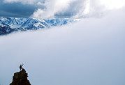 On Top Of Prints - A Climber On The Summit In Denali Print by John Burcham