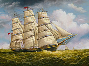 Tall Ships. Marine Art Paintings - A Clipper Ship Under Sail by Eric Bellis