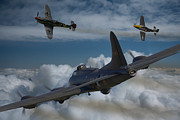 North American P51 Mustang Prints - A close encounter Print by Ken Brannen