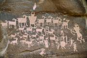 Stone Carvings Prints - A Close View Of A Petroglyph Found Print by Joel Sartore