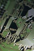 Processor Photo Framed Prints - A Close View Of A Silicon Circuit Board Framed Print by Taylor S. Kennedy