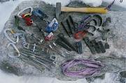 Sporting Equipment Prints - A Close View Of Climbing Equipment Laid Print by Gordon Wiltsie
