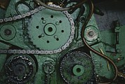 Industry And Production Framed Prints - A Close View Of Gears And A Drive Chain Framed Print by Raul Touzon