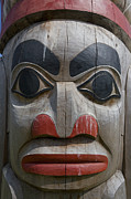 Indigenous Culture Framed Prints - A Close View Of The Carvings Of A Totem Framed Print by Taylor S. Kennedy