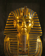 Pharaoh Posters - A Close View Of The Gold Funerary Mask Poster by Kenneth Garrett