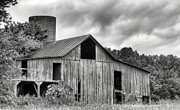 White Barn Framed Prints - A Cloudy Day BW Framed Print by JC Findley