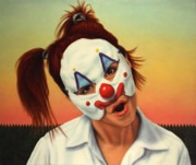 Clown Paintings - A clown in my backyard by James W Johnson