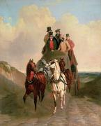 Road Travel Painting Posters - A Coach and Four on an Open Road  Poster by William Snr Shayer