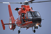 Law Enforcement Photos - A Coast Guard Mh-65 Dolphin Helicopter by Stocktrek Images