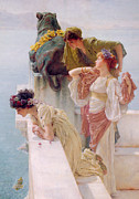 Ancient Woman Framed Prints - A Coign of Vantage Framed Print by Sir Lawrence Alma-Tadema