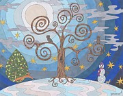 Winter Scene Drawings - A Cold Winters Night by Pamela Schiermeyer
