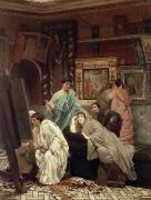 Ancient Greece Framed Prints - A Collector of Pictures at the Time of Augustus Framed Print by Sir Lawrence Alma-Tadema