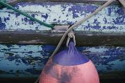 Kodiak Island Prints - A Colorful Buoy Hangs From Ropes Print by George F. Mobley