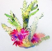 Calligraphy Drawings Prints - A Colorful Cactus Print by Mindy Newman