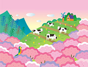Lush Colors Digital Art Posters - A Colorful Image Of A Rural Landscape With Cows And A Farmhouse Poster by Etsuko Aramaki