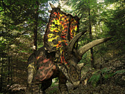 Roaming Posters - A Colorful Pentaceratops Wanders Poster by Walter Myers