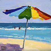 Beach Scene Paintings - A Colorful Spot by Debbie Miller