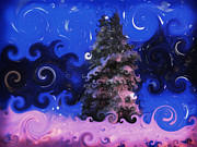 Snowy Night Metal Prints - A Colorful Winter Metal Print by Lj Lambert