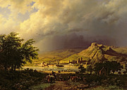 Hills Paintings - A Coming Storm by Barend Cornelis Koekkoek
