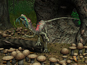 Cretaceous Prints - A Compsognathus Prepares To Swallow Print by Walter Myers