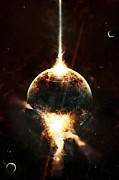 Destruction Digital Art - A Concentrated Gamma Ray Strikes by Tomasz Dabrowski