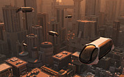 Industrial Concept Digital Art Prints - A Conceptual Image Of A Futuristic City Print by Mark Stevenson