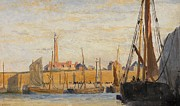 Boats On Water Prints - A Continental Harbor Print by William Lionel Wyllie