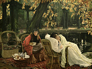 Pillow Posters - A Convalescent Poster by James Jacques Joseph Tissot