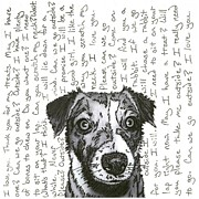 Talking Mixed Media Prints - A CONVERSATION WITH A jack russell terrier Print by Salvadore Delvisco