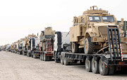 Iraq Posters - A Convoy Of Mine-resistant Ambush Poster by Stocktrek Images
