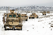 Mrap Photos - A Convoy Of Vehicles During A Route by Stocktrek Images