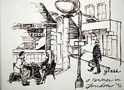 Corner Drawings Framed Prints - A Corner in London Framed Print by Lester Glass