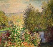 France Paintings - A Corner of the Garden at Montgeron by Claude Monet