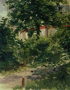 Tall Tree Paintings - A Corner of the Garden in Rueil by Edouard Manet