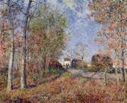 Autumn Woods Painting Prints - A Corner of the Woods at Sablons Print by Alfred Sisley
