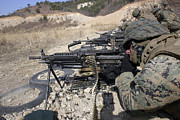 Saw Prints - A Corpsman Fires An M249 Squad Print by Stocktrek Images