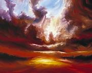 Storms Painting Originals - A Cosmic Storm - Genesis V by James Christopher Hill