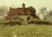 Mother And Daughter Painting Posters - A Cottage at Pinner Middlesex Poster by Helen Allingham